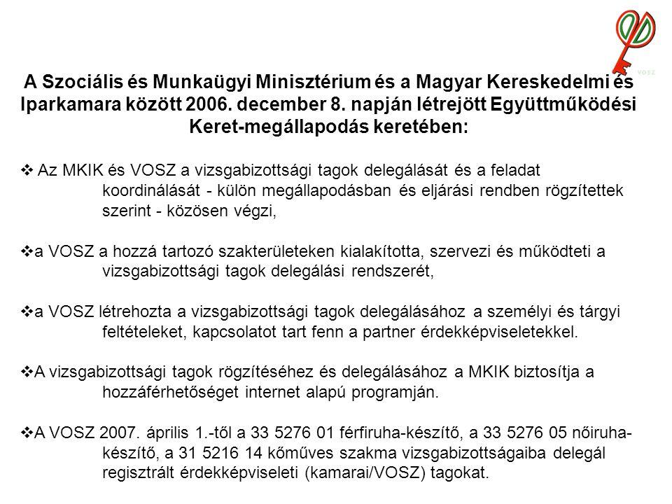 A Szociális és Munkaügyi Minisztérium és a Magyar Kereskedelmi és Iparkamara között 2006.