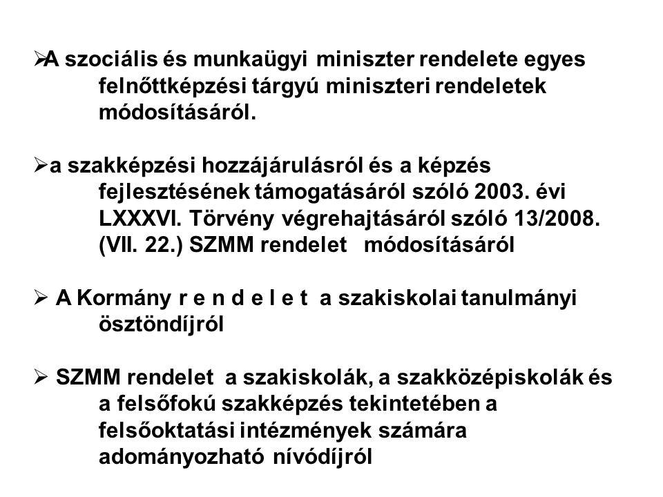  A szociális és munkaügyi miniszter rendelete egyes felnőttképzési tárgyú miniszteri rendeletek módosításáról.