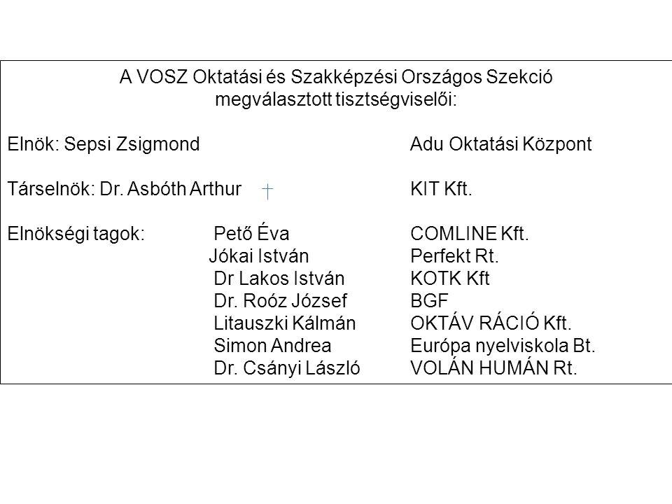 A VOSZ Oktatási és Szakképzési Országos Szekció megválasztott tisztségviselői: Elnök: Sepsi Zsigmond Adu Oktatási Központ Társelnök: Dr.