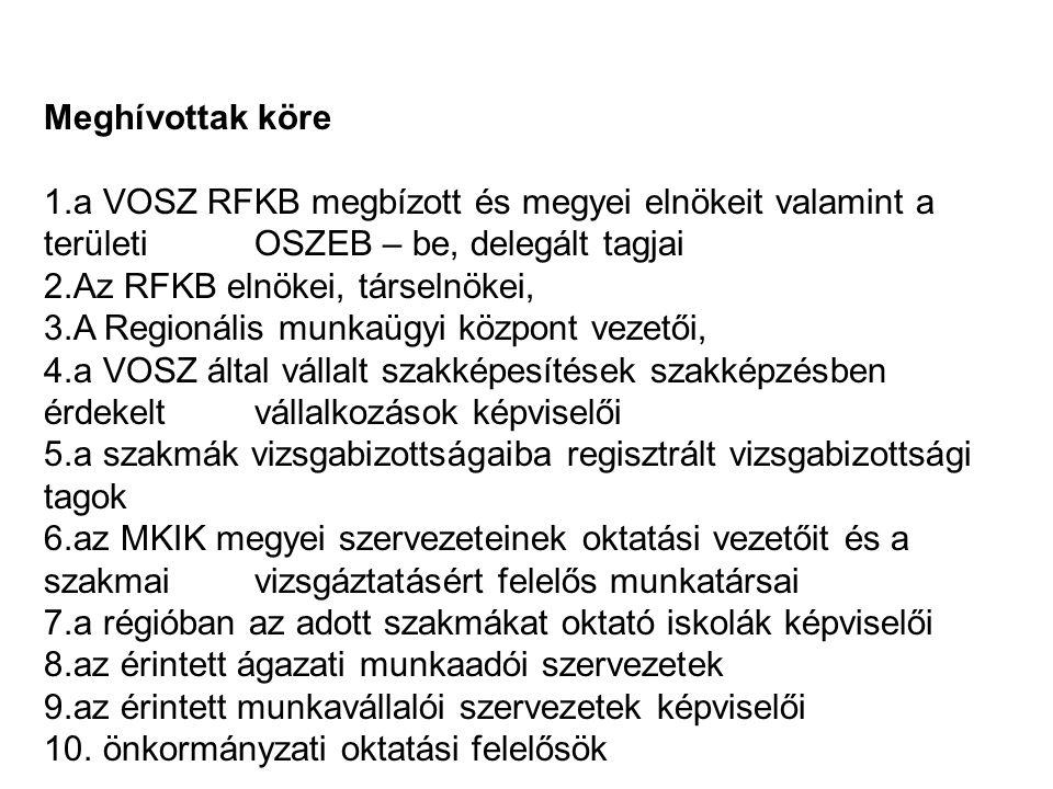 Meghívottak köre 1.a VOSZ RFKB megbízott és megyei elnökeit valamint a területi OSZEB – be, delegált tagjai 2.Az RFKB elnökei, társelnökei, 3.A Regionális munkaügyi központ vezetői, 4.a VOSZ által vállalt szakképesítések szakképzésben érdekelt vállalkozások képviselői 5.a szakmák vizsgabizottságaiba regisztrált vizsgabizottsági tagok 6.az MKIK megyei szervezeteinek oktatási vezetőit és a szakmai vizsgáztatásért felelős munkatársai 7.a régióban az adott szakmákat oktató iskolák képviselői 8.az érintett ágazati munkaadói szervezetek 9.az érintett munkavállalói szervezetek képviselői 10.