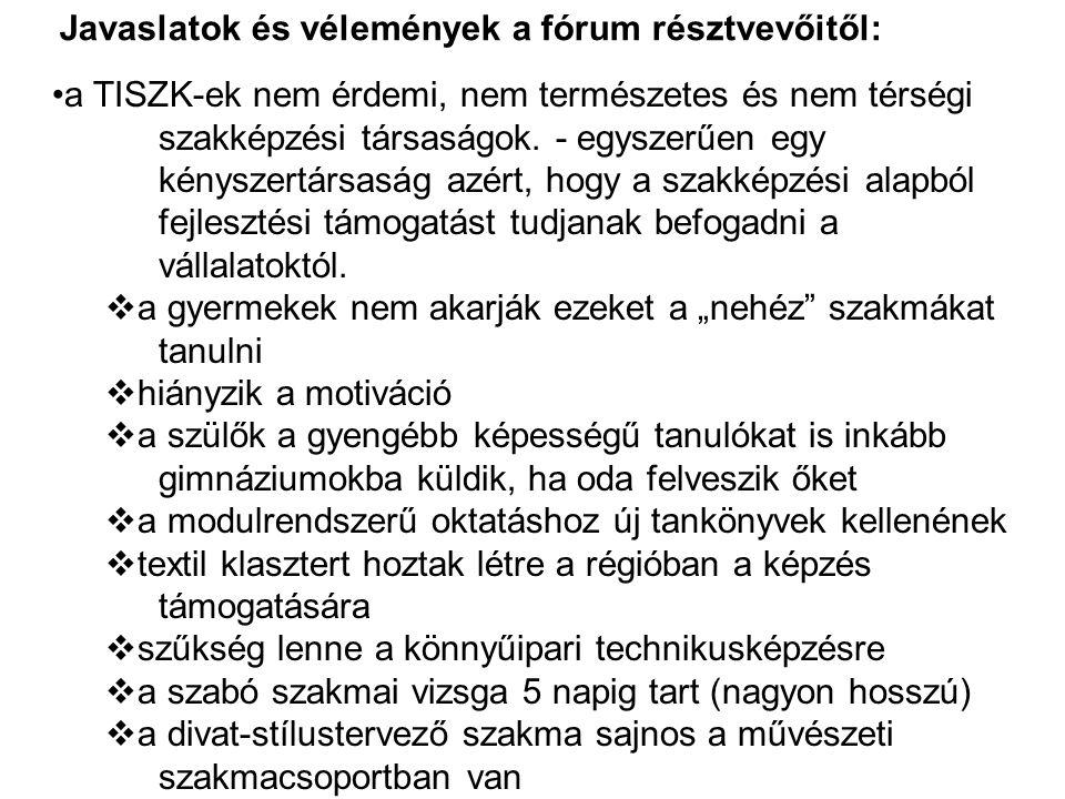 Javaslatok és vélemények a fórum résztvevőitől: •a TISZK-ek nem érdemi, nem természetes és nem térségi szakképzési társaságok.