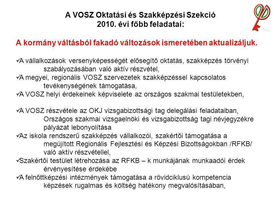 A VOSZ Oktatási és Szakképzési Szekció 2010.