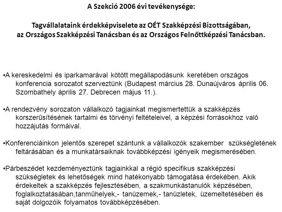 •A kereskedelmi és iparkamarával kötött megállapodásunk keretében országos konferencia sorozatot szerveztünk (Budapest március 28.