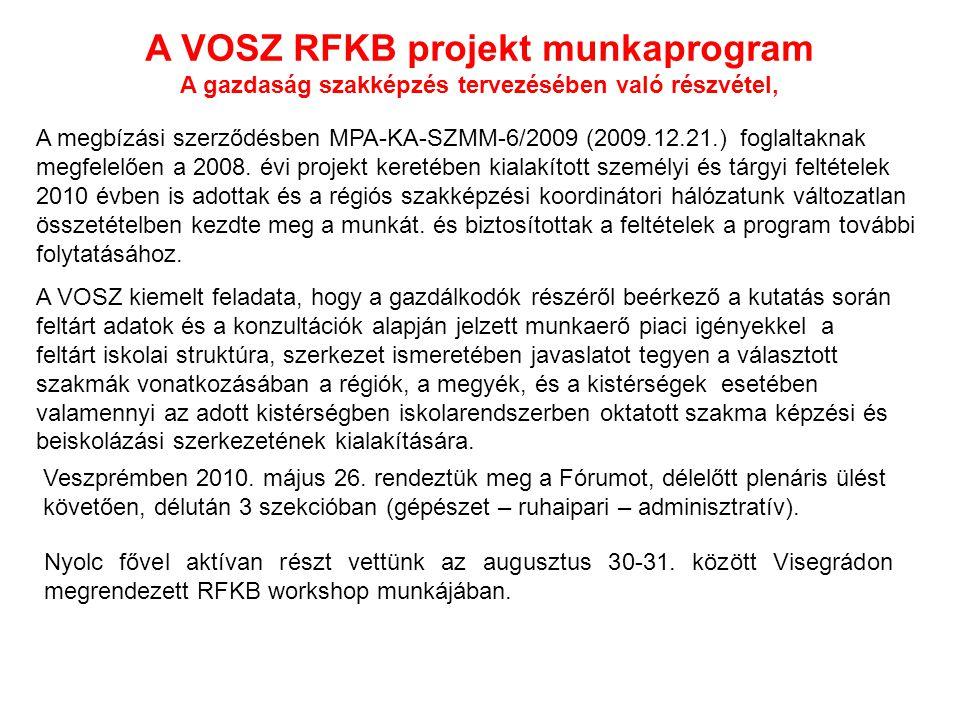 A VOSZ RFKB projekt munkaprogram A gazdaság szakképzés tervezésében való részvétel, A megbízási szerződésben MPA-KA-SZMM-6/2009 (2009.12.21.) foglaltaknak megfelelően a 2008.