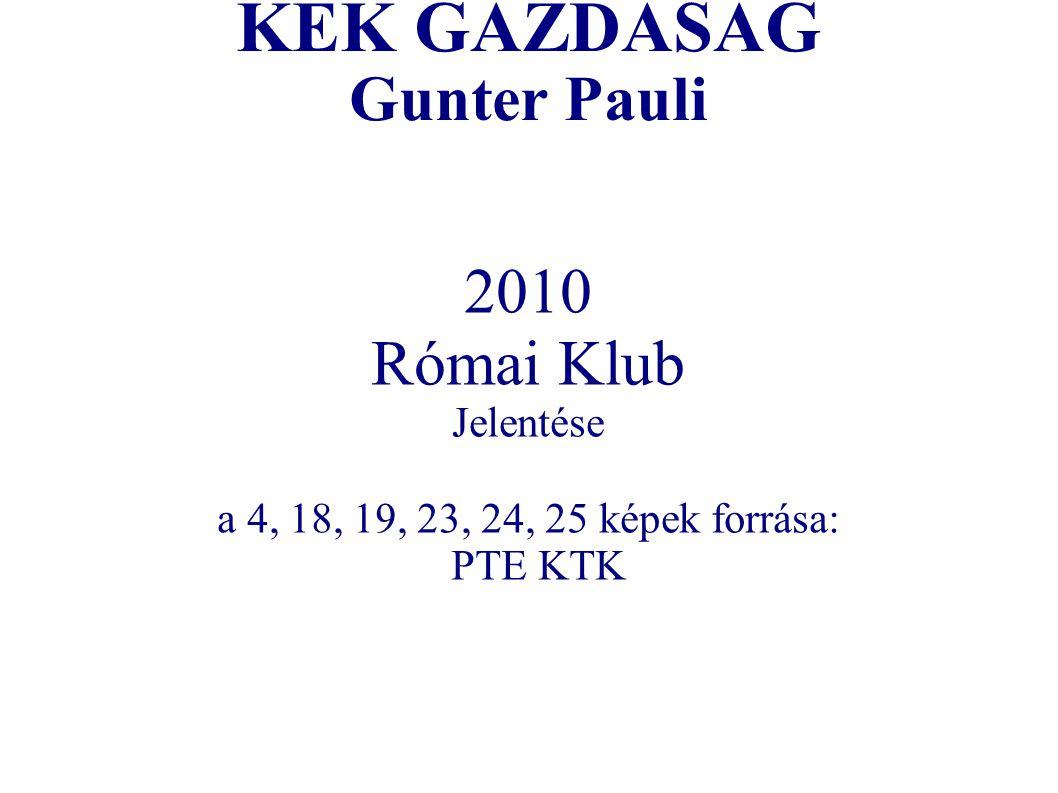 KÉK GAZDASÁG Gunter Pauli 2010 Római Klub Jelentése a 4, 18, 19, 23, 24, 25 képek forrása: PTE KTK