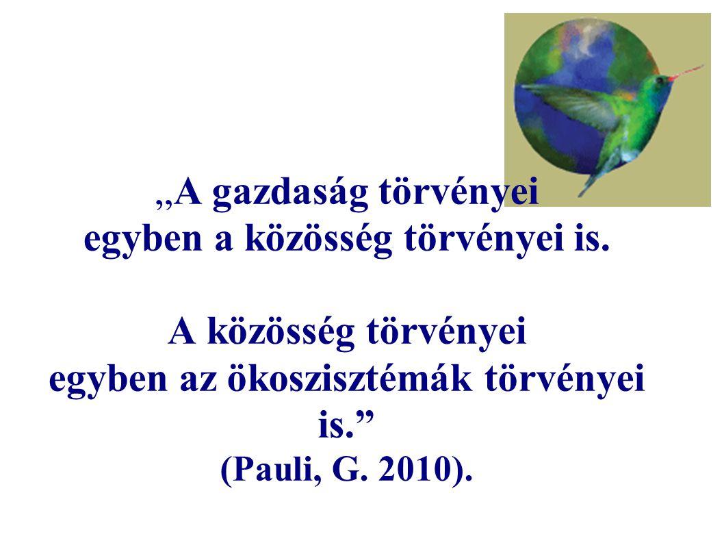 """""""A gazdaság törvényei egyben a közösség törvényei is. A közösség törvényei egyben az ökoszisztémák törvényei is."""" (Pauli, G. 2010)."""