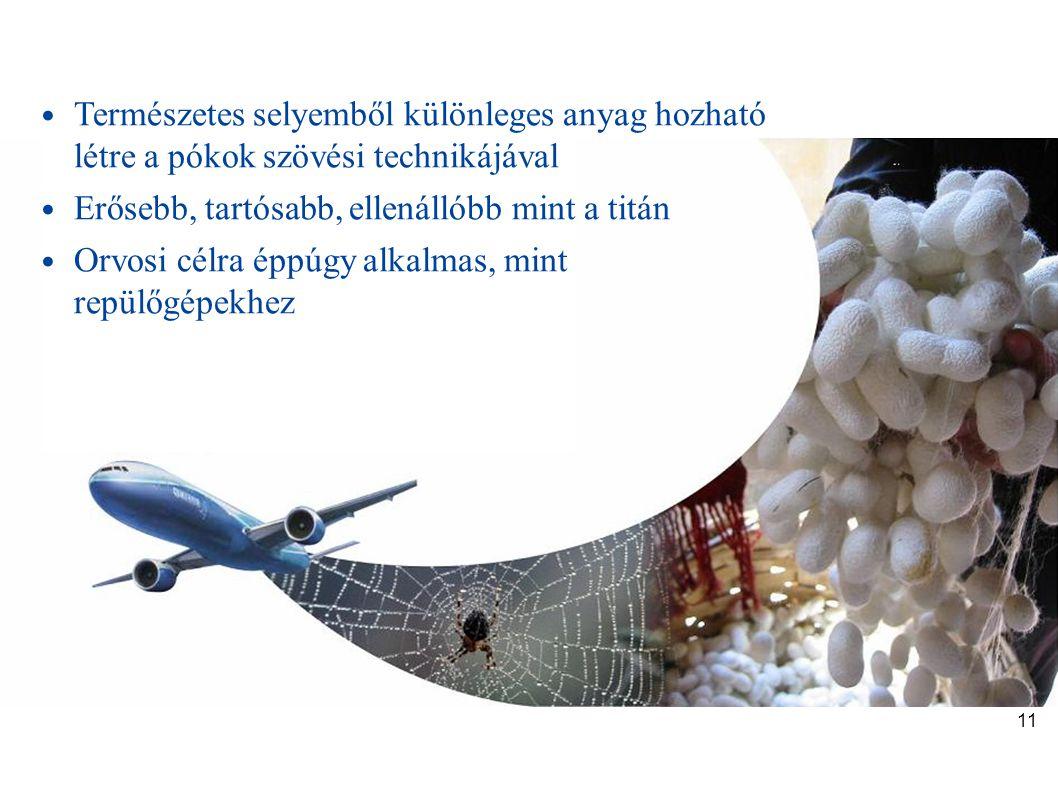 Selyemből repülőgép • Természetes selyemből különleges anyag hozható létre a pókok szövési technikájával • Erősebb, tartósabb, ellenállóbb mint a titá