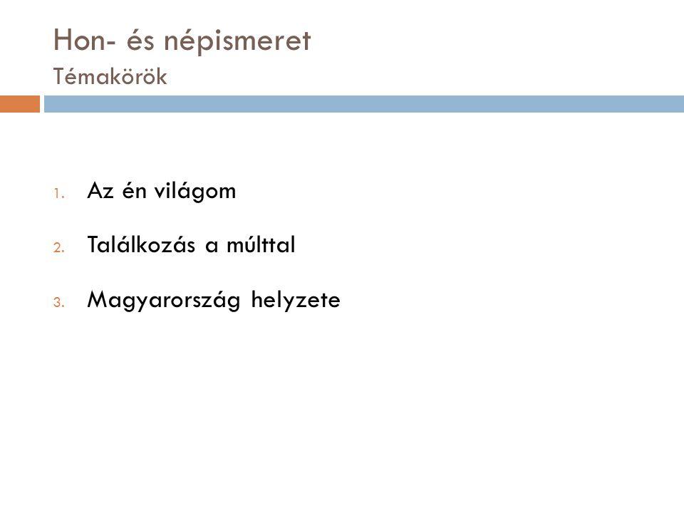 Hon- és népismeret Témakörök 1. Az én világom 2. Találkozás a múlttal 3. Magyarország helyzete