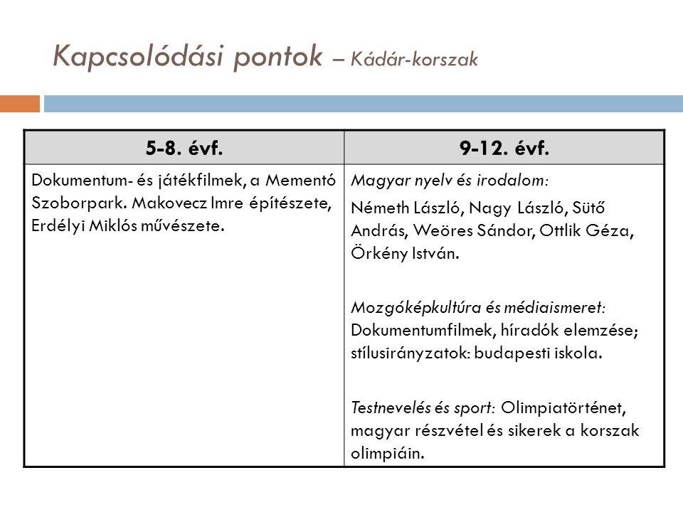 5-8.évf.9-12. évf. Dokumentum- és játékfilmek, a Mementó Szoborpark.
