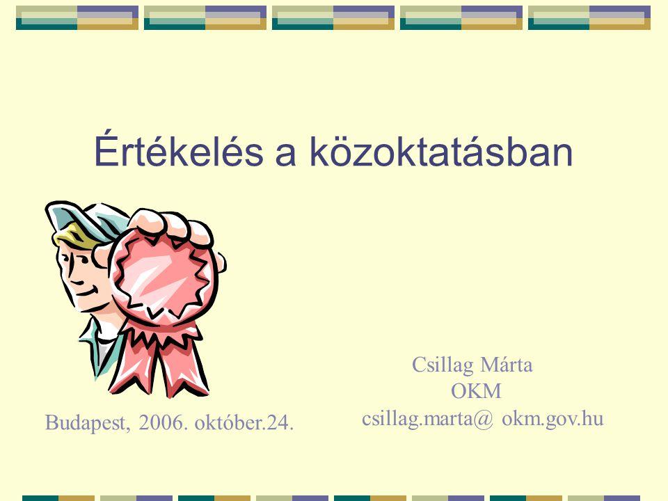 Értékelés a közoktatásban Budapest, 2006. október.24. Csillag Márta OKM csillag.marta@ okm.gov.hu