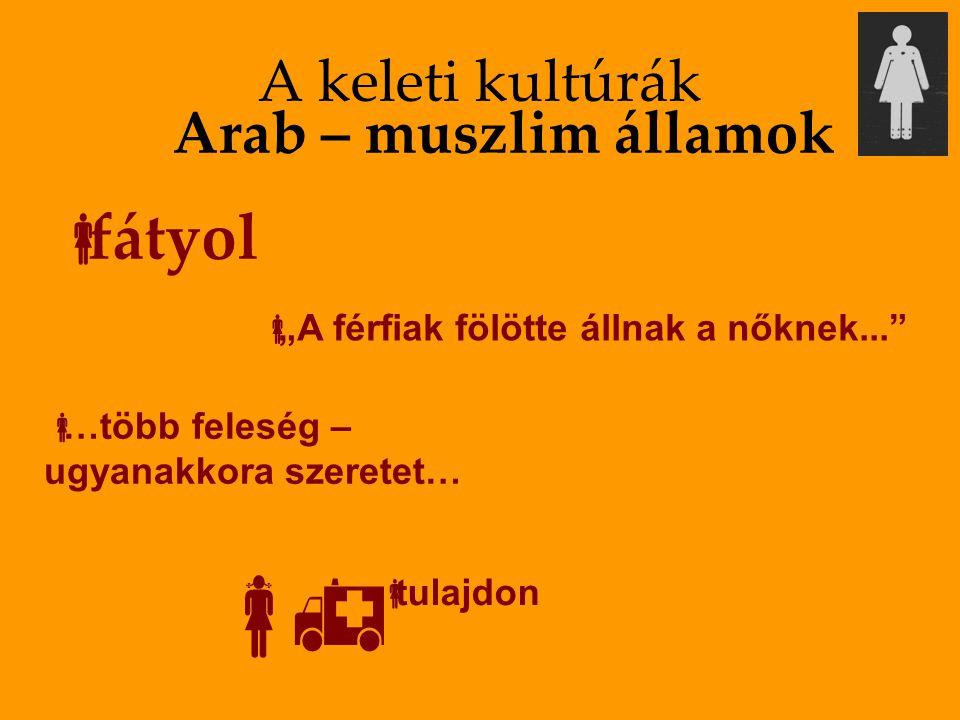 """A keleti kultúrák  fátyol Arab – muszlim államok  """"A férfiak fölötte állnak a nőknek...""""  …több feleség – ugyanakkora szeretet…    tulajdon"""