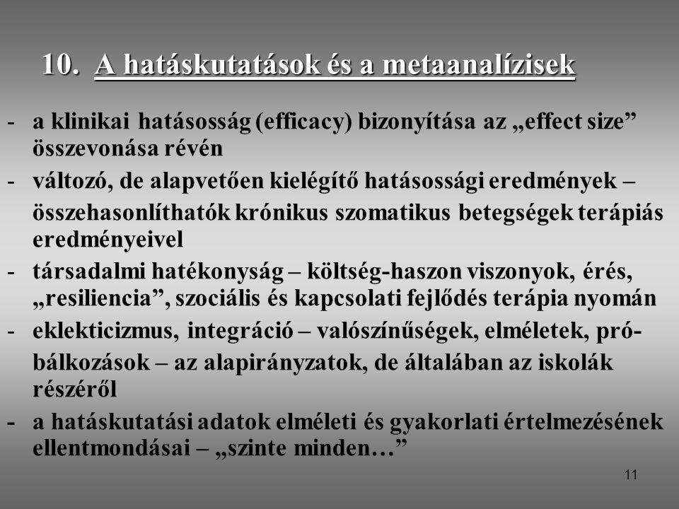 """11 10. A hatáskutatások és a metaanalízisek -a klinikai hatásosság (efficacy) bizonyítása az """"effect size"""" összevonása révén -változó, de alapvetően k"""