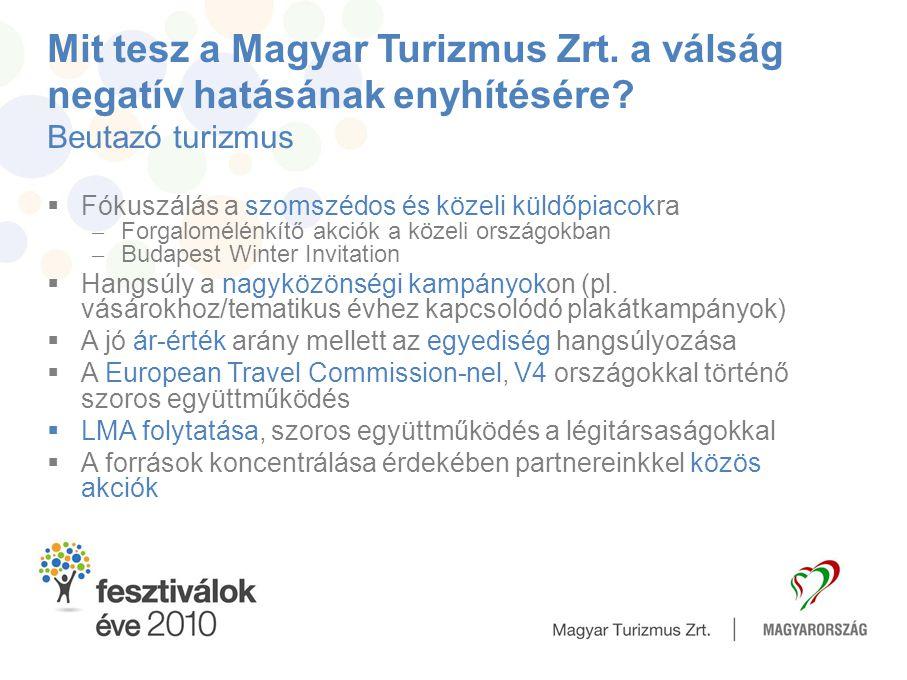 Mit tesz a Magyar Turizmus Zrt. a válság negatív hatásának enyhítésére? Beutazó turizmus  Fókuszálás a szomszédos és közeli küldőpiacokra – Forgalomé