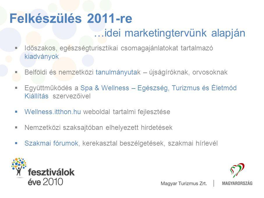 Felkészülés 2011-re …idei marketingtervünk alapján  Időszakos, egészségturisztikai csomagajánlatokat tartalmazó kiadványok  Belföldi és nemzetközi t