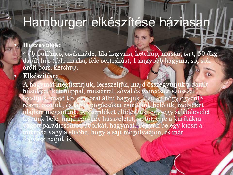 Hamburger elkészítése háziasan •Hozzávalók: 4 db puffancs, csalamádé, lila hagyma, ketchup, mustár, sajt, 50 dkg darált hús (fele marha, fele sertéshú