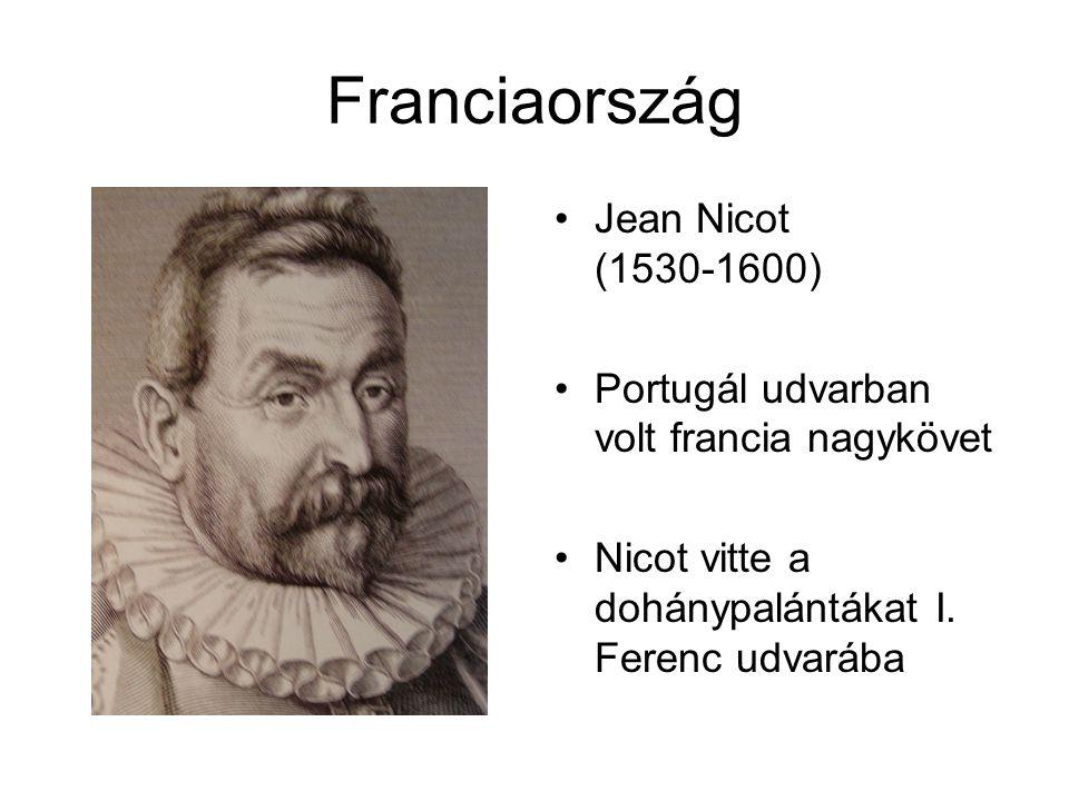 Franciaország •Jean Nicot (1530-1600) •Portugál udvarban volt francia nagykövet •Nicot vitte a dohánypalántákat I.