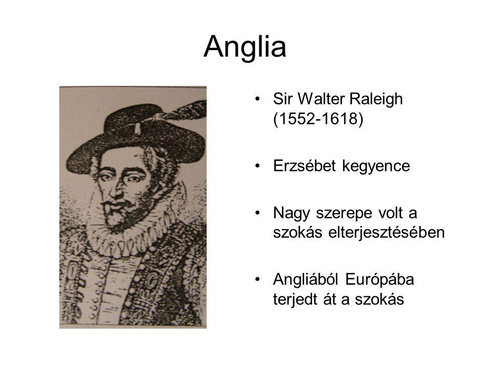 Anglia •Sir Walter Raleigh (1552-1618) •Erzsébet kegyence •Nagy szerepe volt a szokás elterjesztésében •Angliából Európába terjedt át a szokás