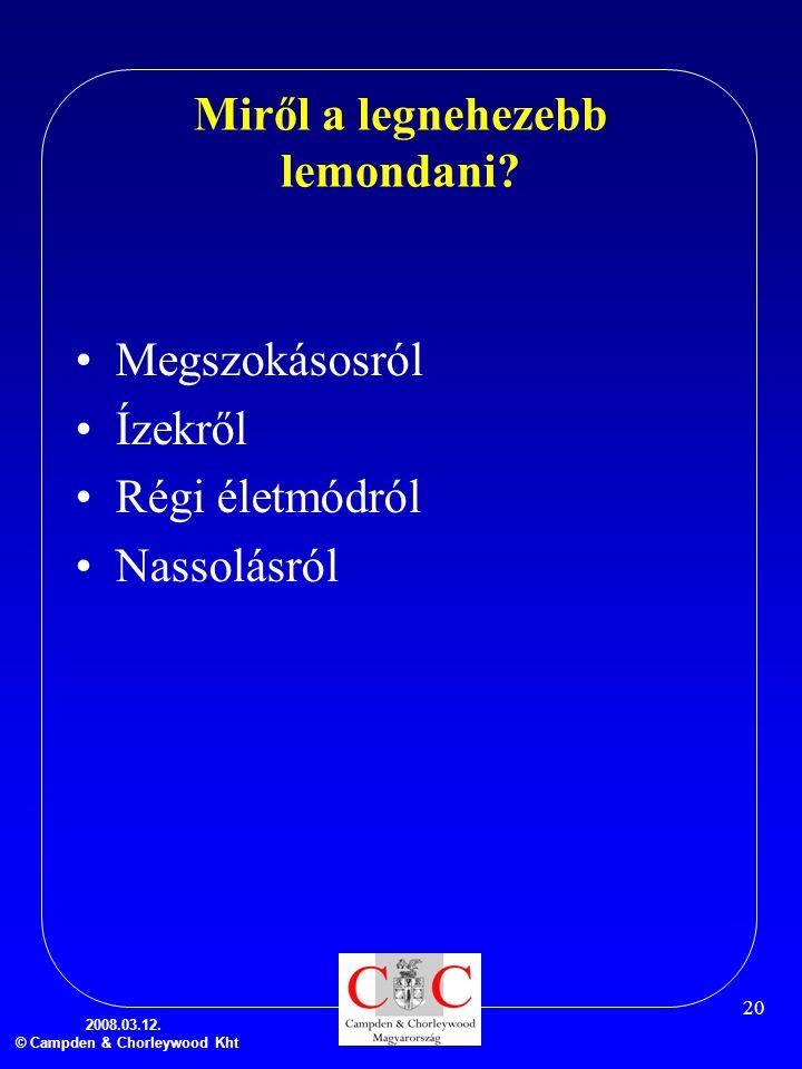 2008.03.12. © Campden & Chorleywood Kht 20 Miről a legnehezebb lemondani? •Megszokásosról •Ízekről •Régi életmódról •Nassolásról