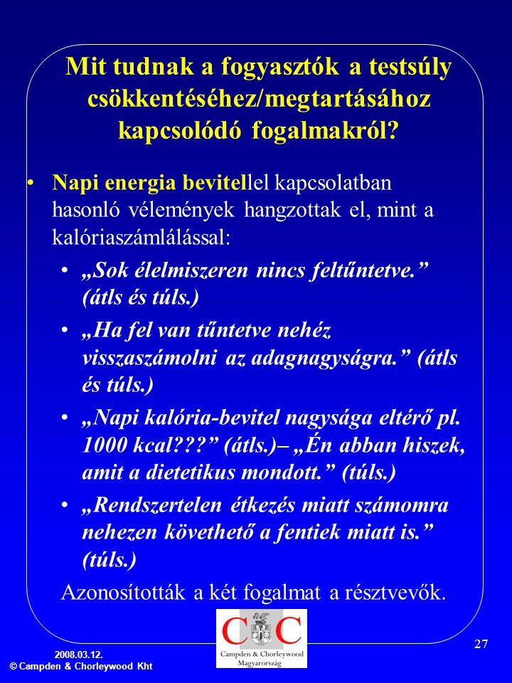2008.03.12. © Campden & Chorleywood Kht 27 Mit tudnak a fogyasztók a testsúly csökkentéséhez/megtartásához kapcsolódó fogalmakról? •Napi energia bevit