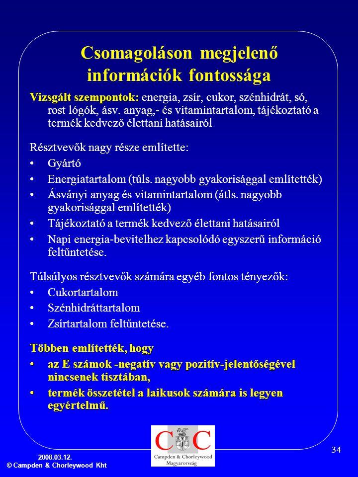2008.03.12. © Campden & Chorleywood Kht 34 Csomagoláson megjelenő információk fontossága Vizsgált szempontok: Vizsgált szempontok: energia, zsír, cuko