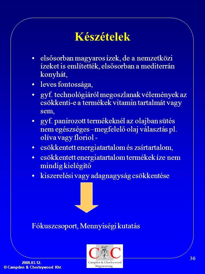 2008.03.12. © Campden & Chorleywood Kht 36 Készételek •elsősorban magyaros ízek, de a nemzetközi ízeket is említették, elsősorban a mediterrán konyhát