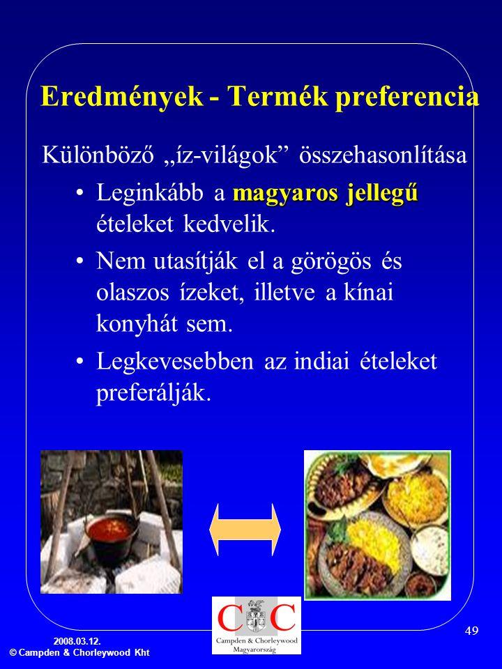 """2008.03.12. © Campden & Chorleywood Kht 49 Eredmények - Termék preferencia Különböző """"íz-világok"""" összehasonlítása magyaros jellegű •Leginkább a magya"""
