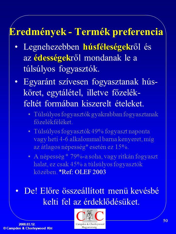 2008.03.12. © Campden & Chorleywood Kht 50 Eredmények - Termék preferencia húsféleségek édességek •Legnehezebben húsféleségekről és az édességekről mo