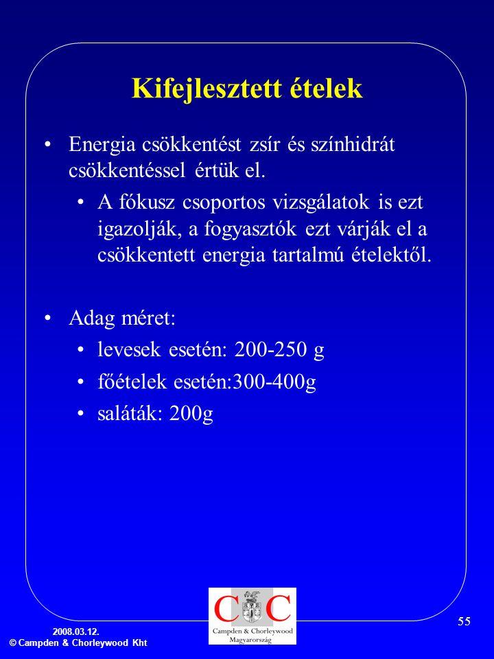 2008.03.12. © Campden & Chorleywood Kht 55 Kifejlesztett ételek •Energia csökkentést zsír és színhidrát csökkentéssel értük el. •A fókusz csoportos vi