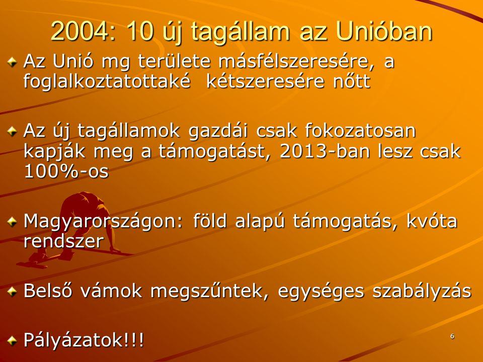6 2004: 10 új tagállam az Unióban Az Unió mg területe másfélszeresére, a foglalkoztatottaké kétszeresére nőtt Az új tagállamok gazdái csak fokozatosan kapják meg a támogatást, 2013-ban lesz csak 100%-os Magyarországon: föld alapú támogatás, kvóta rendszer Belső vámok megszűntek, egységes szabályzás Pályázatok!!!