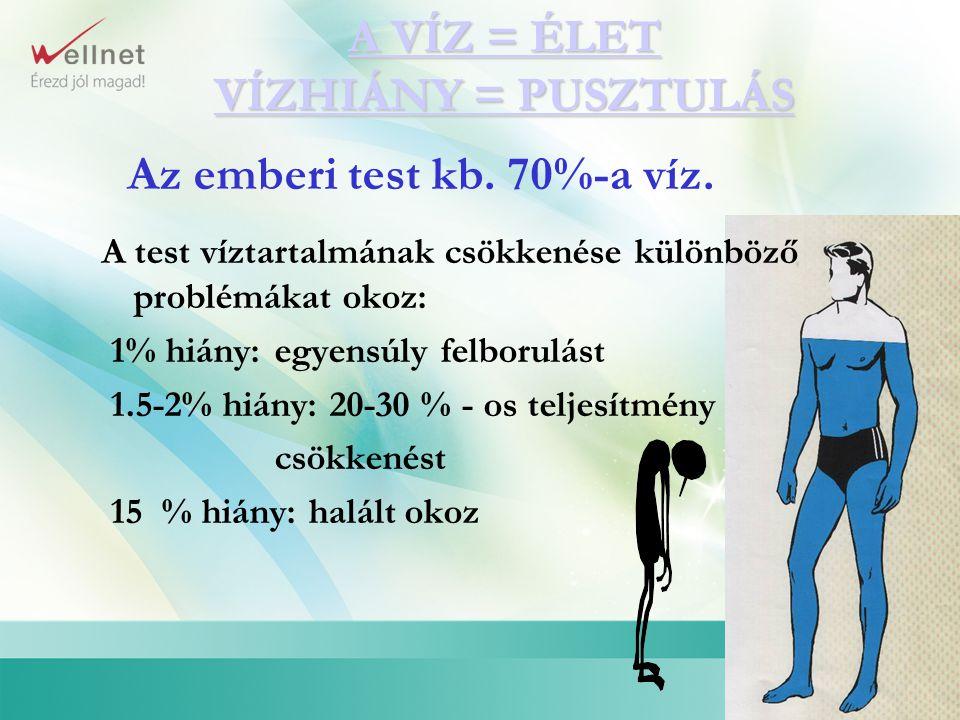 Az emberi test kb. 70%-a víz. A VÍZ = ÉLET A VÍZ = ÉLET VÍZHIÁNY = PUSZTULÁS VÍZHIÁNY = PUSZTULÁS A test víztartalmának csökkenése különböző problémák