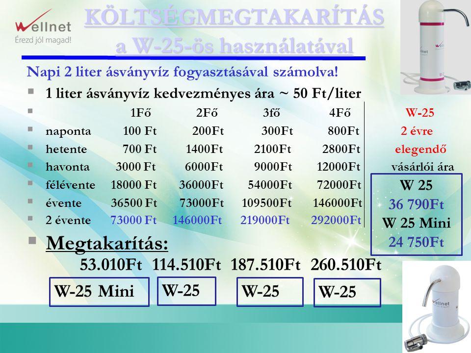 Napi 2 liter ásványvíz fogyasztásával számolva!  1 liter ásványvíz kedvezményes ára ~ 50 Ft/liter  1Fő 2Fő 3fő 4Fő W-25  naponta 100 Ft 200Ft 300Ft