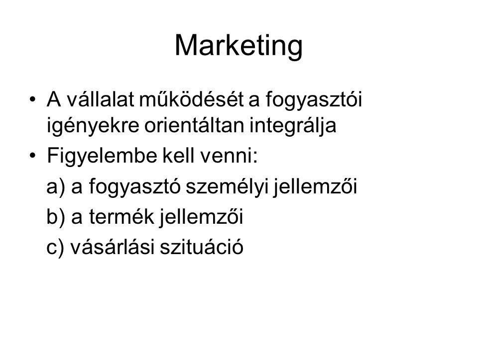 Marketing •A vállalat működését a fogyasztói igényekre orientáltan integrálja •Figyelembe kell venni: a) a fogyasztó személyi jellemzői b) a termék je