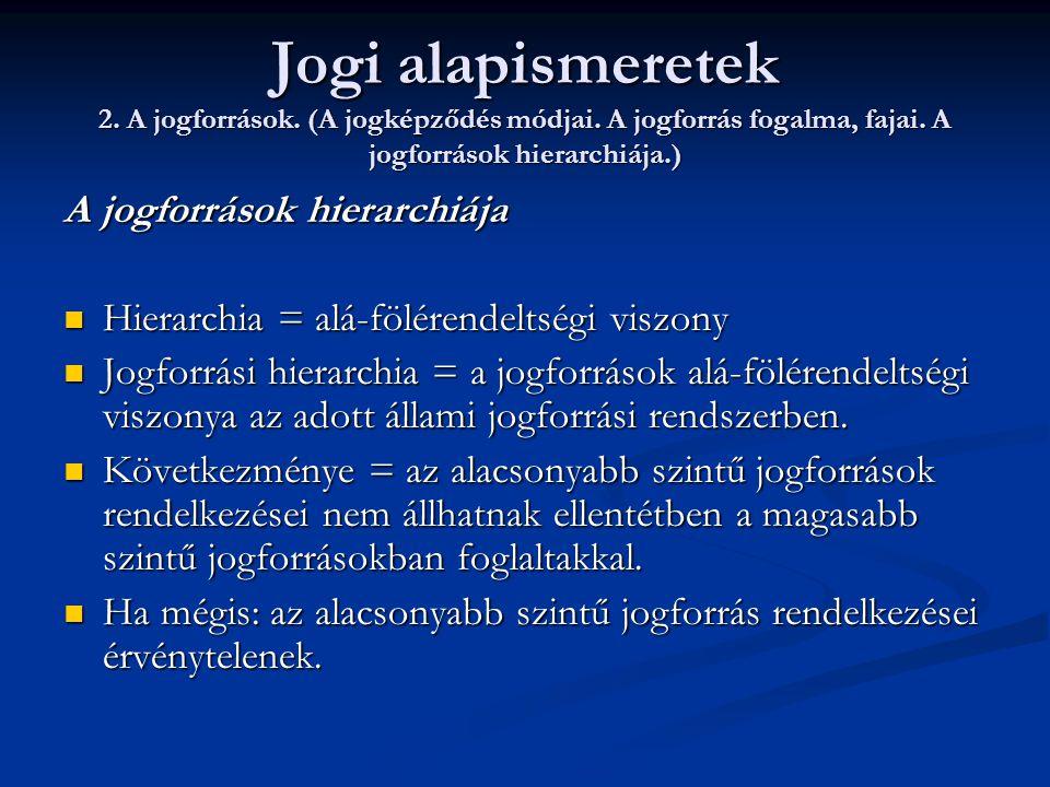 Jogi alapismeretek 2. A jogforrások. (A jogképződés módjai. A jogforrás fogalma, fajai. A jogforrások hierarchiája.) A jogforrások hierarchiája  Hier