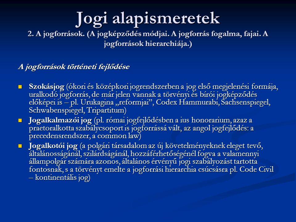 Jogi alapismeretek 2. A jogforrások. (A jogképződés módjai. A jogforrás fogalma, fajai. A jogforrások hierarchiája.) A jogforrások történeti fejlődése