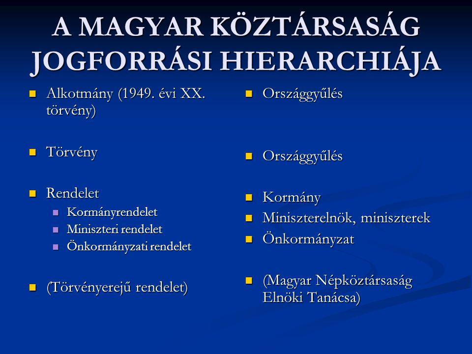 A MAGYAR KÖZTÁRSASÁG JOGFORRÁSI HIERARCHIÁJA  Alkotmány (1949. évi XX. törvény)  Törvény  Rendelet  Kormányrendelet  Miniszteri rendelet  Önkorm