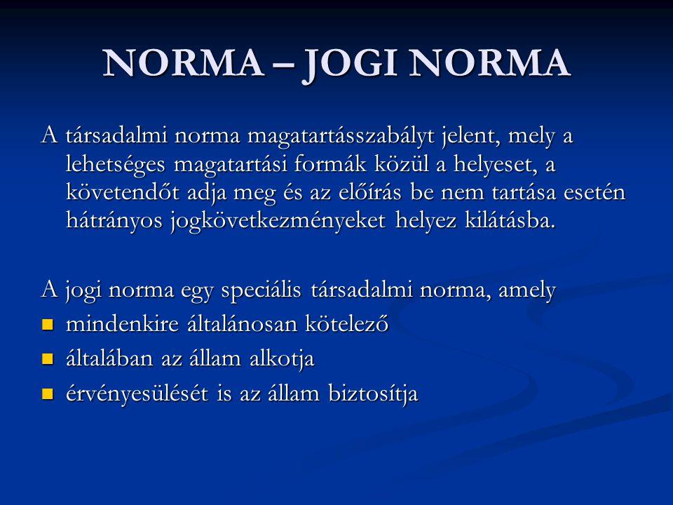 NORMA – JOGI NORMA A társadalmi norma magatartásszabályt jelent, mely a lehetséges magatartási formák közül a helyeset, a követendőt adja meg és az el