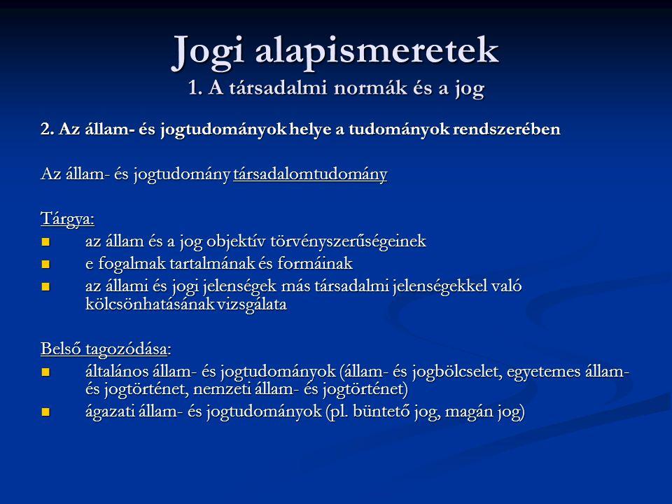 Jogi alapismeretek 1.A társadalmi normák és a jog 3.