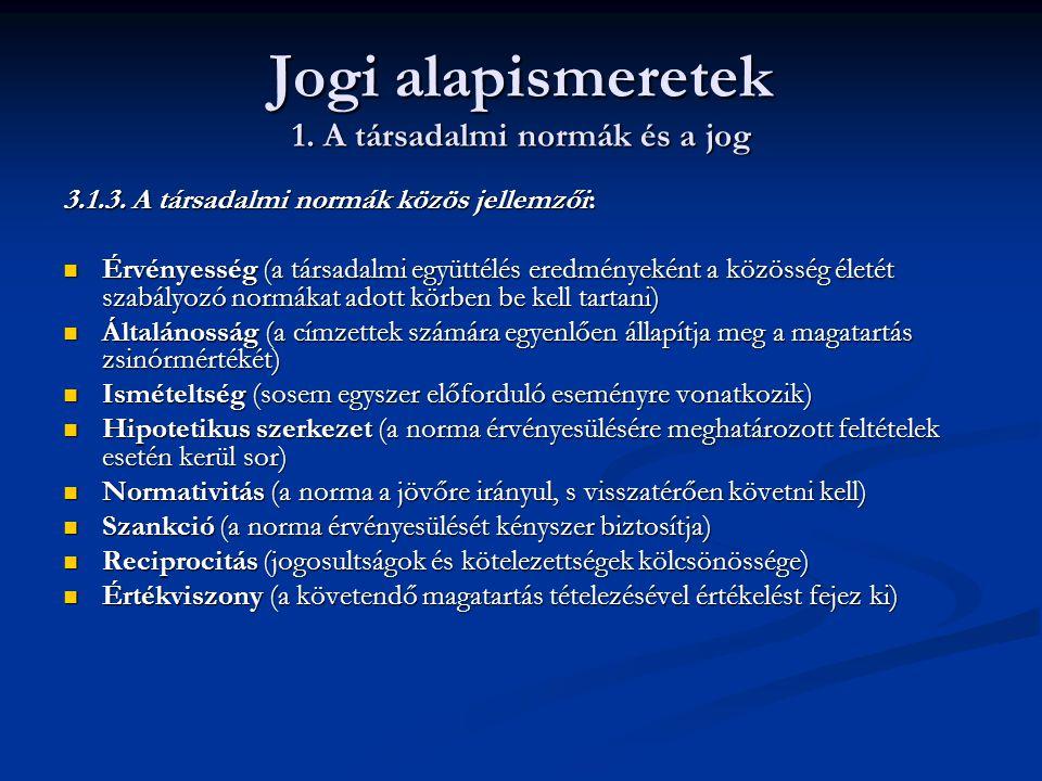 Jogi alapismeretek 1. A társadalmi normák és a jog 3.1.3. A társadalmi normák közös jellemzői:  Érvényesség (a társadalmi együttélés eredményeként a