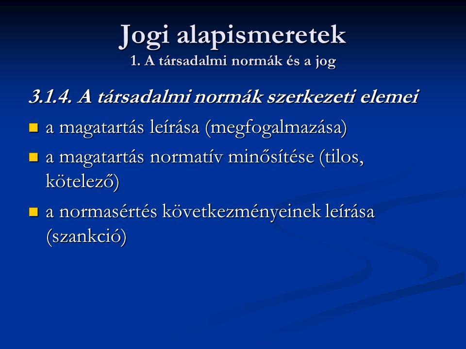 Jogi alapismeretek 1. A társadalmi normák és a jog 3.1.4. A társadalmi normák szerkezeti elemei  a magatartás leírása (megfogalmazása)  a magatartás