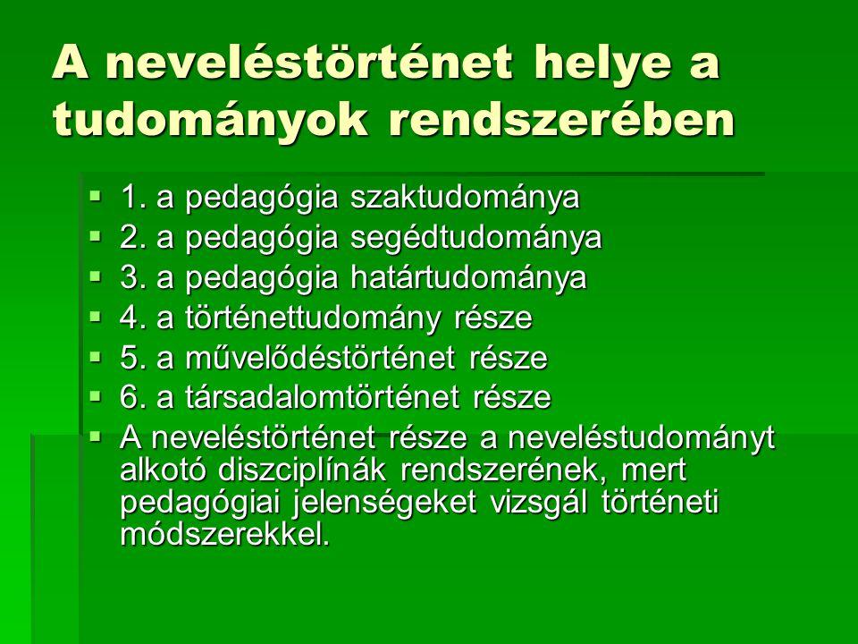 A neveléstörténet helye a tudományok rendszerében  1. a pedagógia szaktudománya  2. a pedagógia segédtudománya  3. a pedagógia határtudománya  4.