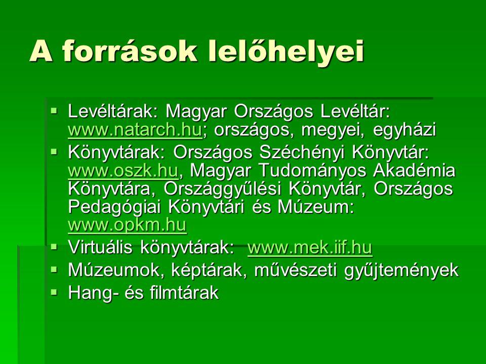 A források lelőhelyei  Levéltárak: Magyar Országos Levéltár: www.natarch.hu; országos, megyei, egyházi www.natarch.hu  Könyvtárak: Országos Széchény