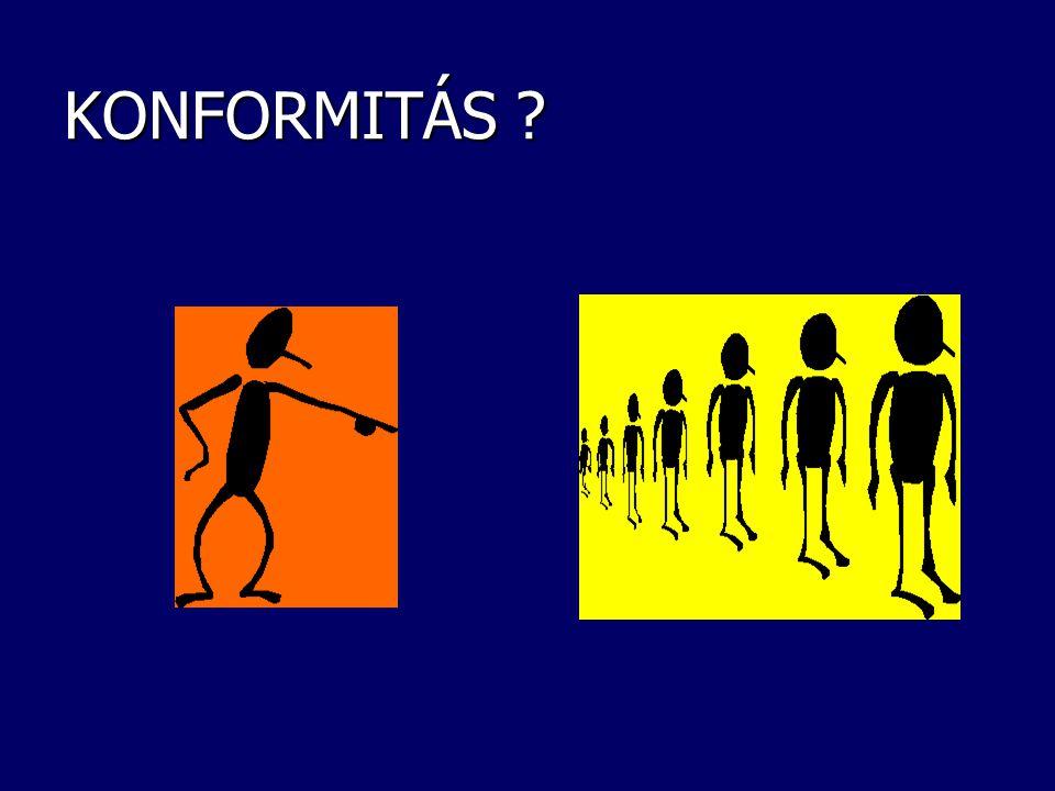 KONFORMITÁS Emberek csoportjai:  közös,  mindenki által jóváhagyott,  szinte automatikusan érvényesülő viselkedési módokat alakít ki, még akkor is