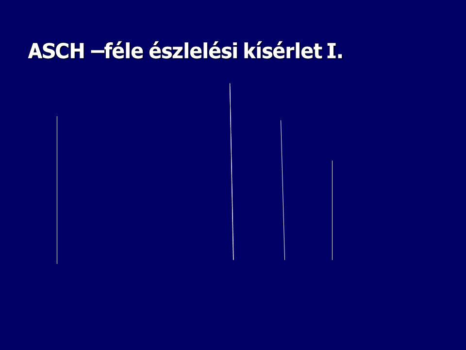 ASCH KÍSÉRLETE • A feladat célja vonalak hosszúságának megállapítása. • A bal oldali lapon egy vonal látható, a jobb oldali lapon három vonal látható.