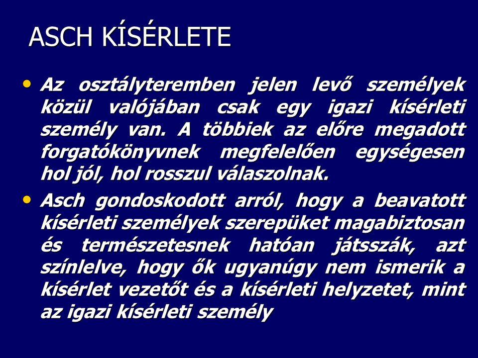 ASCH –féle észlelési kísérlet I.
