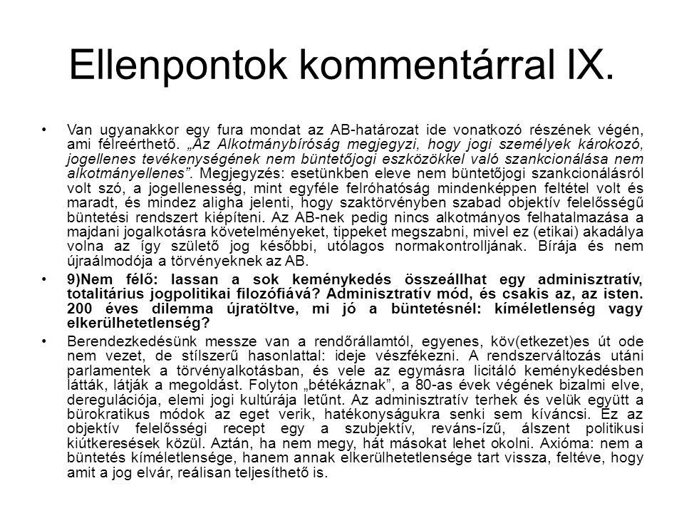Ellenpontok kommentárral IX.