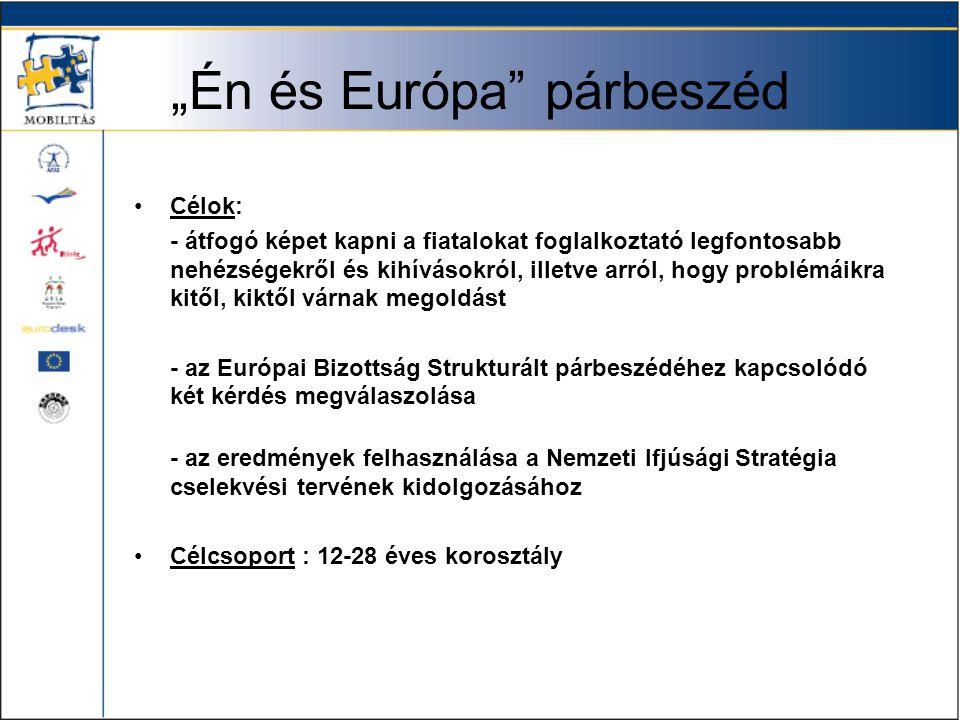 """""""Én és Európa párbeszéd •Célok: - átfogó képet kapni a fiatalokat foglalkoztató legfontosabb nehézségekről és kihívásokról, illetve arról, hogy problémáikra kitől, kiktől várnak megoldást - az Európai Bizottság Strukturált párbeszédéhez kapcsolódó két kérdés megválaszolása - az eredmények felhasználása a Nemzeti Ifjúsági Stratégia cselekvési tervének kidolgozásához •Célcsoport : 12-28 éves korosztály"""