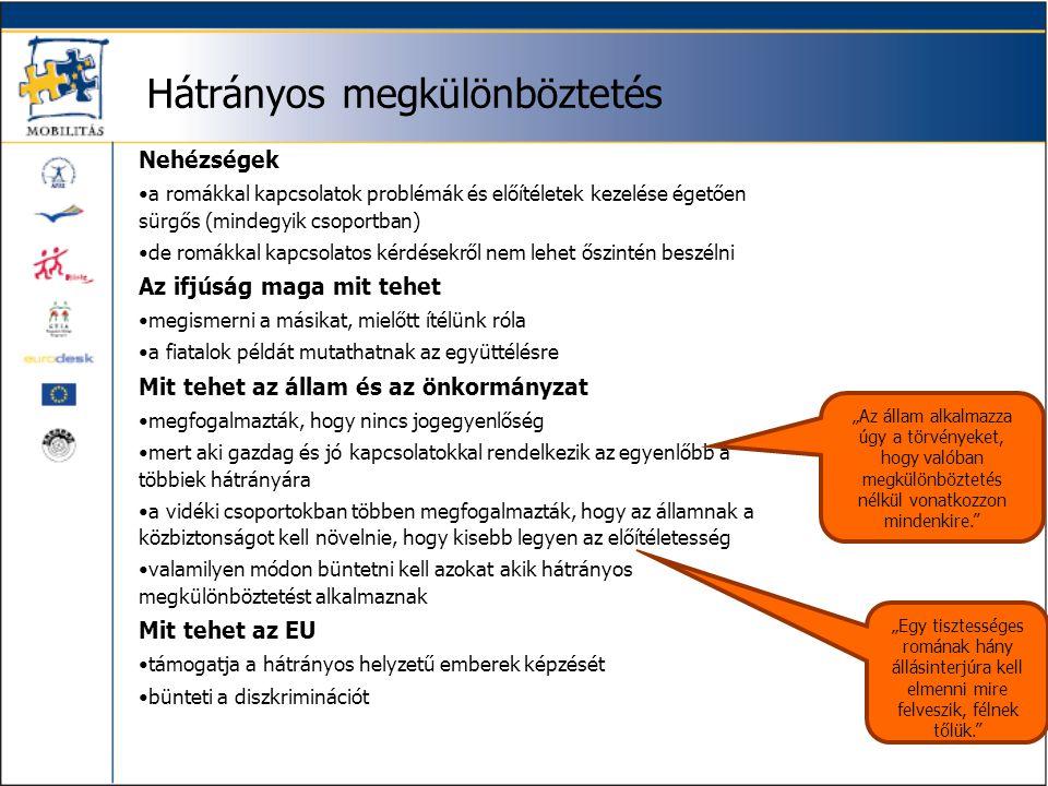Hátrányos megkülönböztetés Nehézségek •a romákkal kapcsolatok problémák és előítéletek kezelése égetően sürgős (mindegyik csoportban) •de romákkal kap