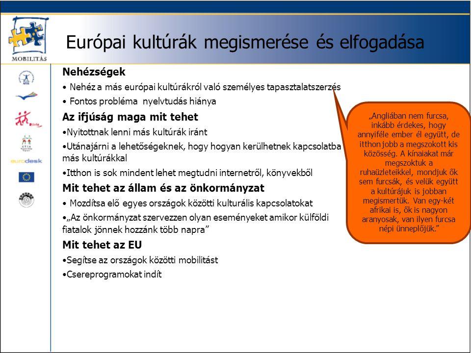 Európai kultúrák megismerése és elfogadása Nehézségek • Nehéz a más európai kultúrákról való személyes tapasztalatszerzés • Fontos probléma nyelvtudás