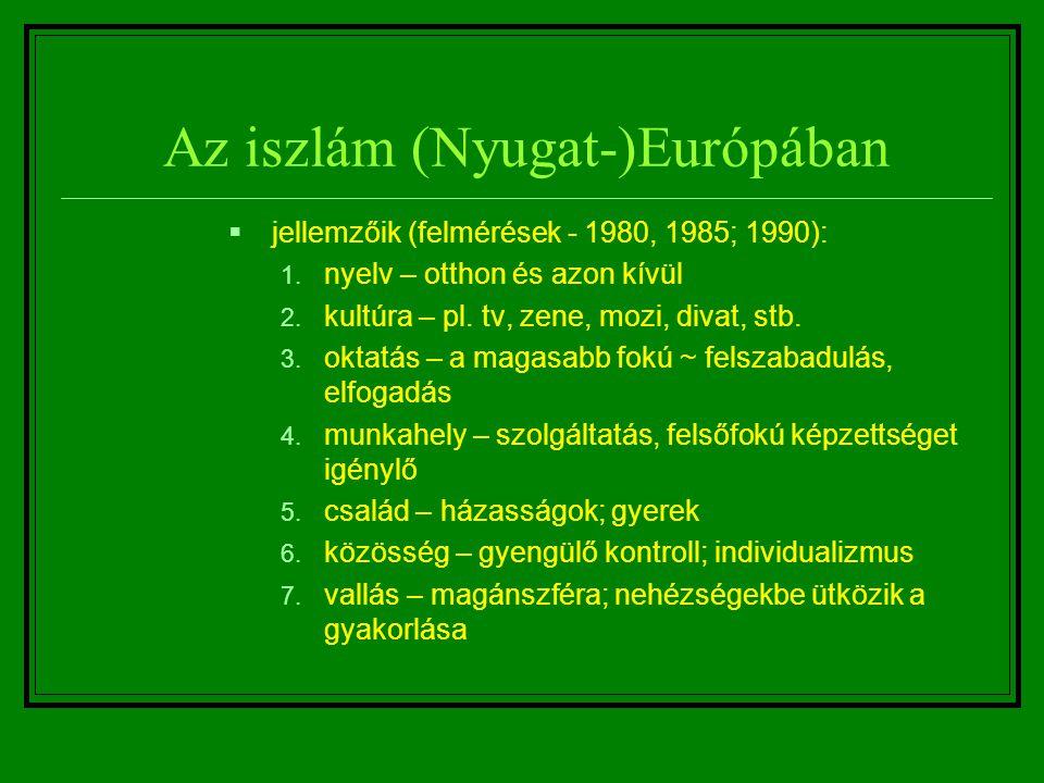 Az iszlám (Nyugat-)Európában  jellemzőik (felmérések - 1980, 1985; 1990): 1. nyelv – otthon és azon kívül 2. kultúra – pl. tv, zene, mozi, divat, stb
