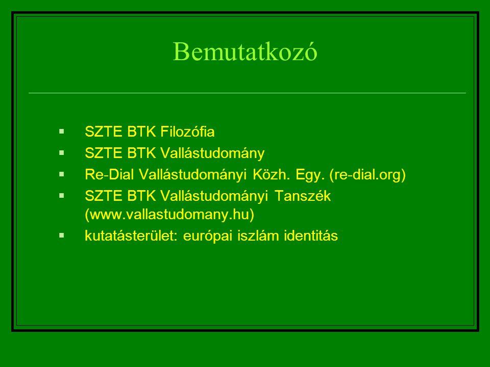 Bemutatkozó  SZTE BTK Filozófia  SZTE BTK Vallástudomány  Re-Dial Vallástudományi Közh. Egy. (re-dial.org)  SZTE BTK Vallástudományi Tanszék (www.